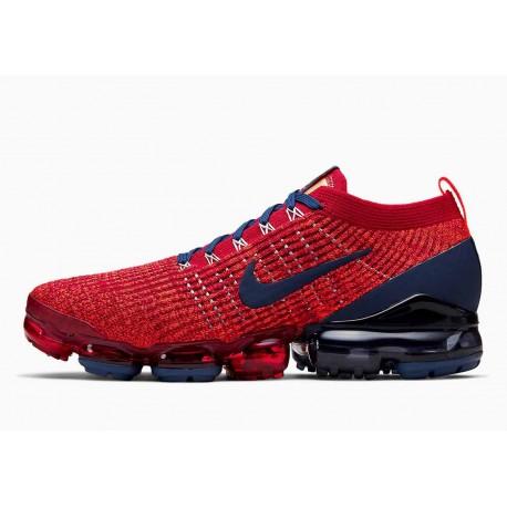 Nike Air VaporMax Flyknit 3 Rojo Noble Vacío Azul para Hombre y Mujer