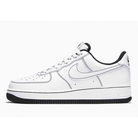 Nike Air Force 1 07 Bajo Puntada de Contraste Blanco Negro para Hombre y Mujer