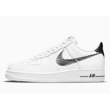 Nike Air Force 1 Bajo Zig Zag Blanco Negro para Hombre y Mujer