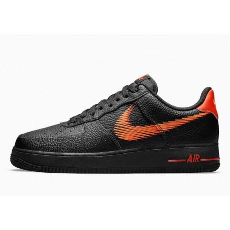 Nike Air Force 1 Bajo Zig Zag Negro Naranja para Hombre y Mujer