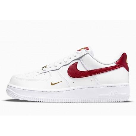 Nike Air Force 1 07 Bajo Essential Blanco Gimnasio Rojo para Hombre y Mujer