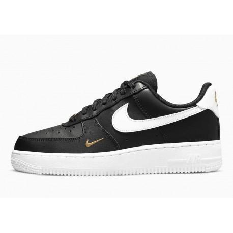 Nike Air Force 1 07 Essential Bajo Negro Metálico Dorado para Hombre y Mujer