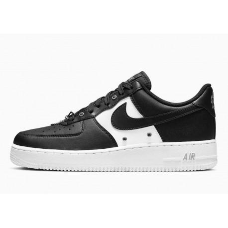 Nike Air Force 1 Bajo 07 Premium Cadena de Plata Negro para Hombre y Mujer