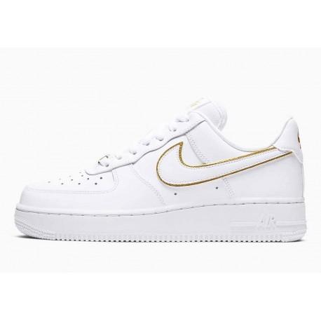 Nike Air Force 1 07 Bajo Choque de Iconos Blanco Metálico Dorado para Hombre y Mujer