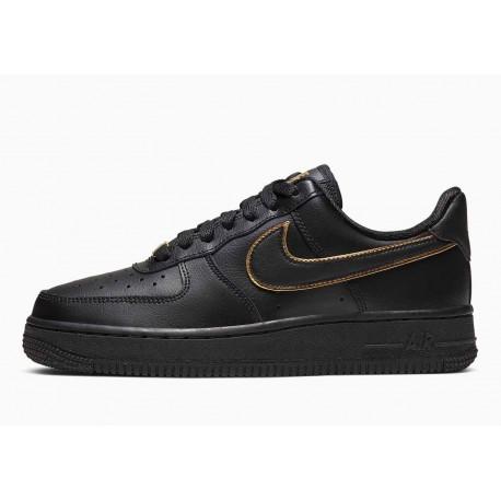 Nike Air Force 1 07 Bajo Swoosh Dorado Negro para Hombre y Mujer